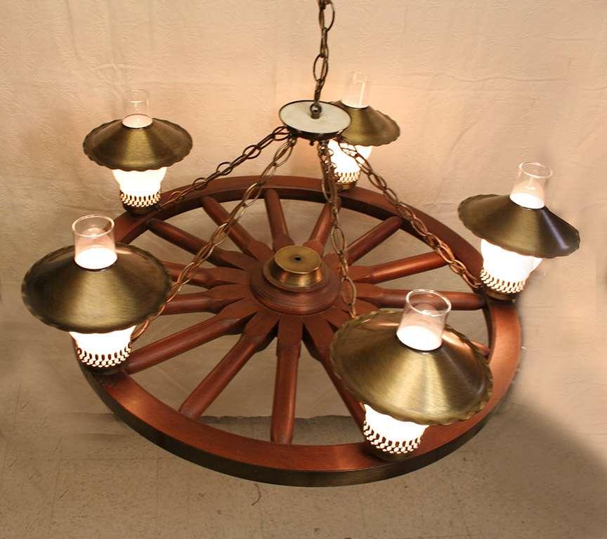 """1960s Wagon Wheel Hanging Light Fixture CHANDELIER 34"""""""