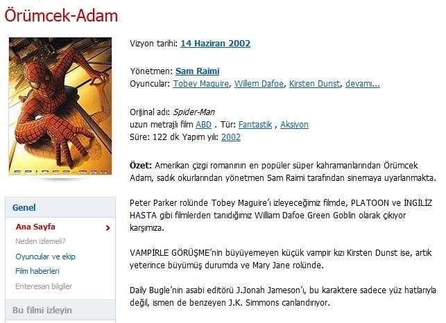 Örümcek Adam 1 - 2002 Türkçe Dublaj 480p BRRip Tek Link indir